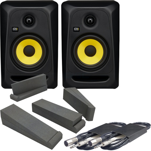 KRK Rokit Classic 5 (Pair) + Isolation Pads + Leads Bundle