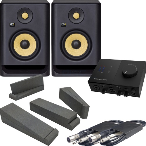 KRK Rokit RP5 G4 Studio Monitors (Pair) + NI Audio 2, Pads & Leads