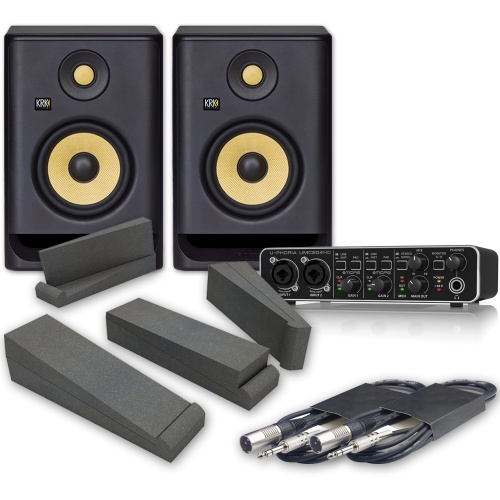 KRK Rokit RP5 G4 Studio Monitors (Pair) + Behringer UMC204 Interface Pads & Leads