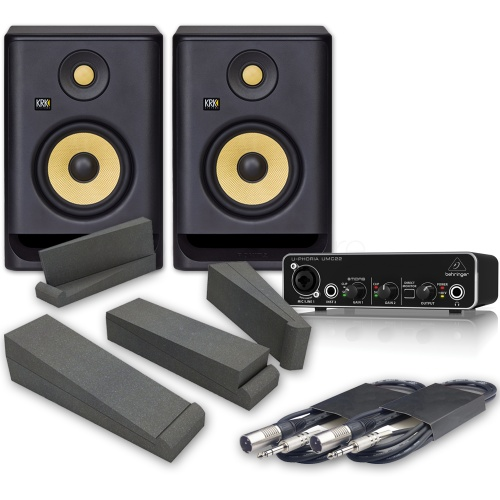 KRK Rokit RP5 G4 Studio Monitors (Pair) + Behringer UMC22 Interface Pads & Leads