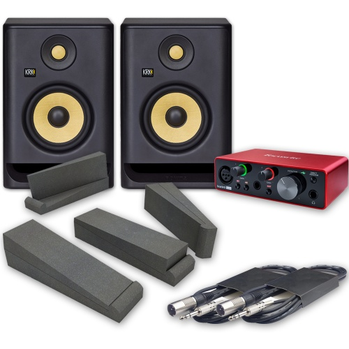 KRK Rokit RP5 G4 Studio Monitors (Pair) + Scarlett Solo 3rd Gen Interface Pads & Leads