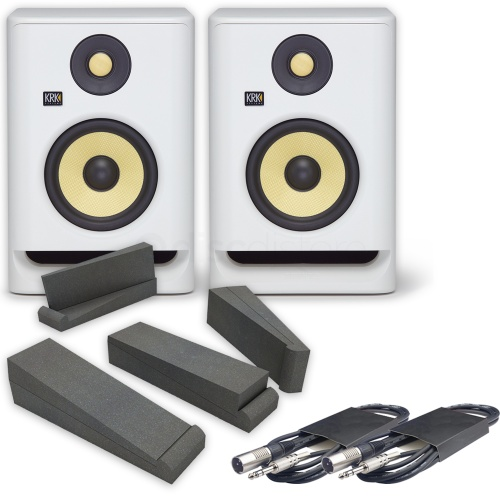 KRK Rokit RP5 G4 White Noise (Pair) + Isolation Pads + Leads Bundle