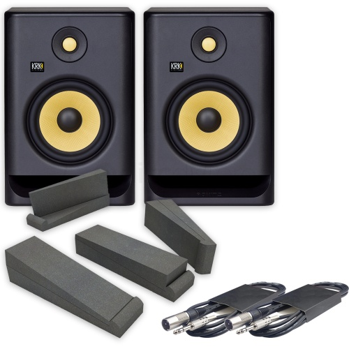 KRK Rokit RP7 G4 (Pair) + Isolation Pads & Leads Bundle
