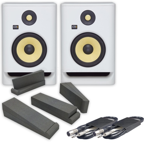 KRK Rokit RP7 G4 White Noise (Pair) + Isolation Pads & Leads Bundle