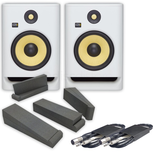 KRK Rokit RP8 G4 White Noise (Pair) + Isolation Pads & Leads Bundle