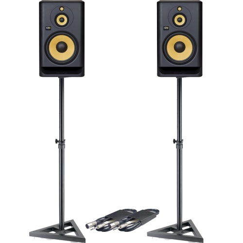 KRK Rokit RP10 G4 (Pair) + Monitor Stands + Leads Bundle