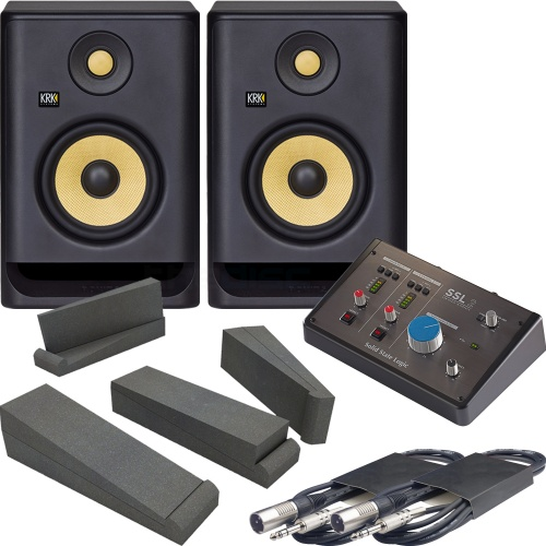 KRK Rokit RP5 G4 (Pair) + SSL 2 Audio Interface , Pads & Leads Bundle
