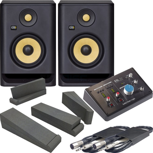 KRK Rokit RP5 G4 (Pair) + SSL 2+ Audio Interface , Pads & Leads Bundle