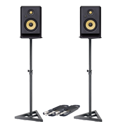KRK Rokit RP5 G4 (Pair) + Monitor Stands + Leads Bundle