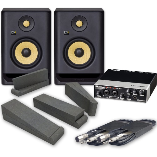 KRK Rokit RP5 G4 (Pair) + Steinberg UR22MKII Audio Interface, Pads & Leads