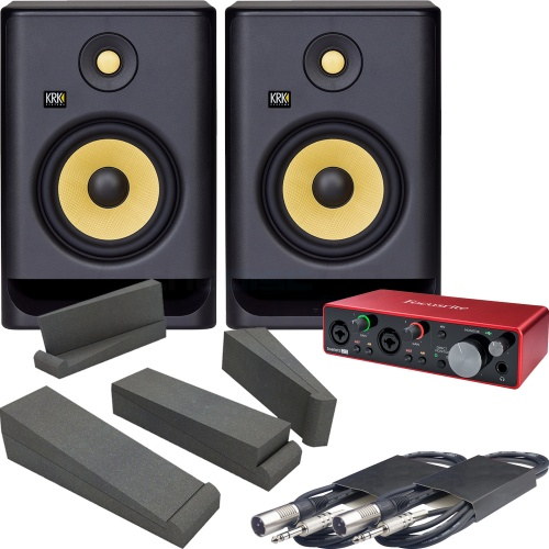 KRK Rokit RP7 G4 Active Monitors + Focusrite Scarlett 2i2 G3 Interface, Isolation Pads & Cables Bundle Deal
