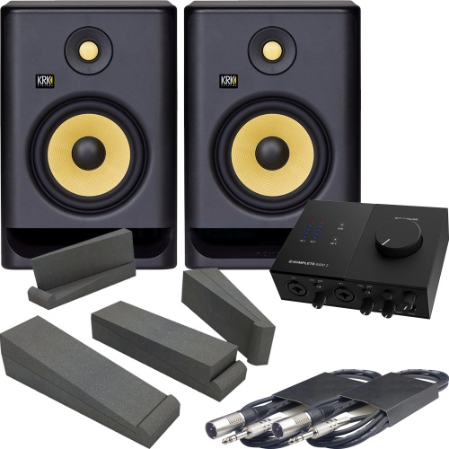 KRK Rokit RP7 G4 Active Monitors + NI Komplete Audio 2 Interface Bundle
