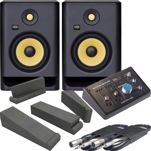 KRK Rokit RP7 G4 (Pair) + SSL 2+ Audio Interface , Pads & Leads Bundle
