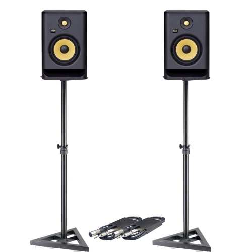 KRK Rokit RP7 G4 (Pair) + Monitor Stands + Leads Bundle