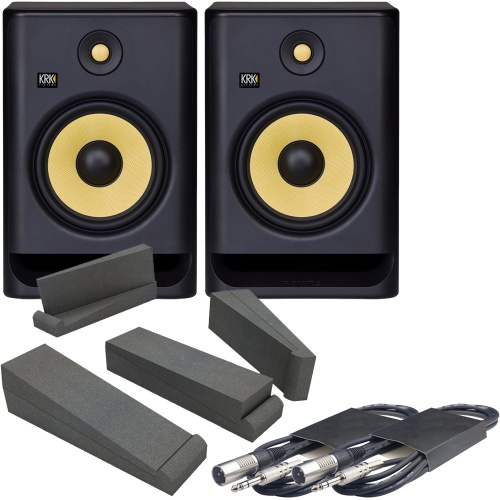 KRK Rokit RP8 G4 (Pair) + Isolation Pads & Leads Bundle