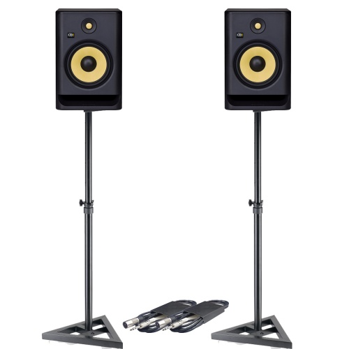 KRK Rokit RP8 G4 (Pair) + Monitor Stands + Leads Bundle