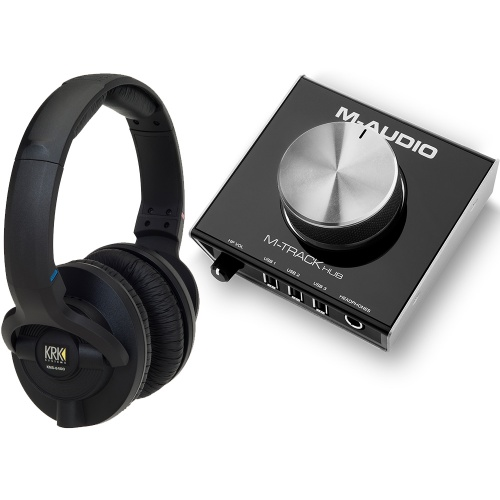 ​KRK KNS6400 Studio Headphones + M-Audio M-Track Hub Bundle