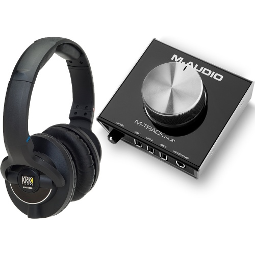 ​KRK KNS8400 Studio Headphones + M-Audio M-Track Hub Bundle