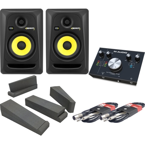 KRK Rokit RP5 G3 (Pair), M-Track 2x2, Isolation Pads & Leads Bundle