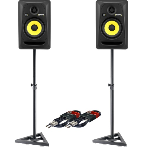 KRK Rokit RP5 G3 (Pair) + Monitor Stands + Leads Bundle