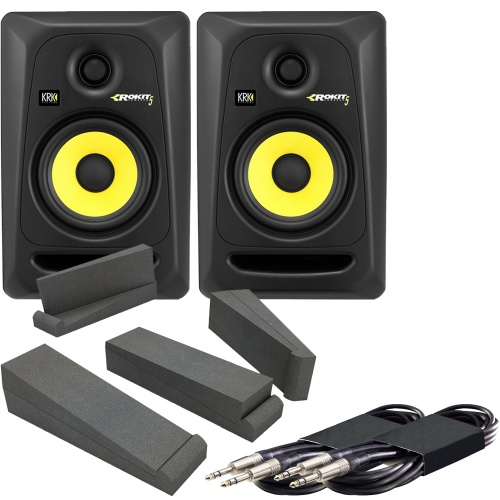 KRK Rokit RP5 G3 (Pair) + AH Isolation Pads + Leads Bundle