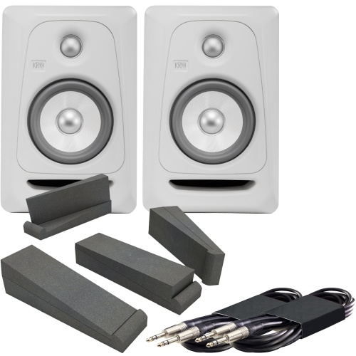 KRK Rokit RP5 G3 White Noise (Pair) + AH Isolation Pads + Leads Bundle