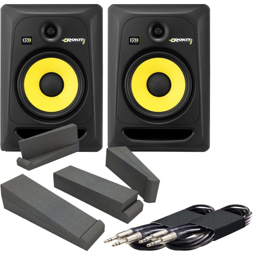 KRK Rokit RP8 G3 (Pair) + Isolation Pads + Leads Bundle