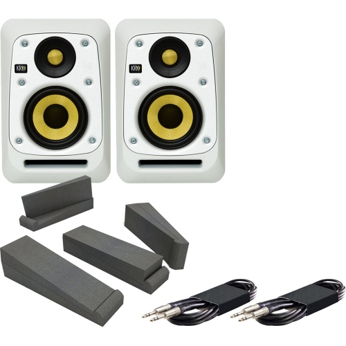 KRK V4-S4WN White Active Studio Monitors + Iso Pads + Leads Bundle