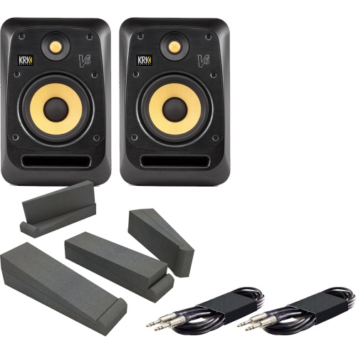 KRK V6-S4 Active Studio Monitors + Isolation Pads + Leads Bundle