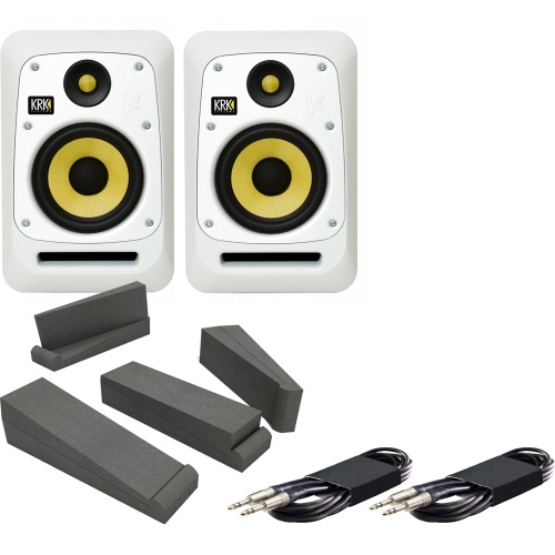 KRK V6-S4WN White Active Studio Monitors + Iso Pads + Leads Bundle