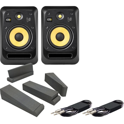 KRK V8-S4 Active Studio Monitors + Isolation Pads + Leads Bundle