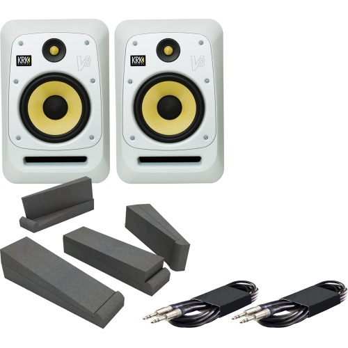 KRK V8-S4WN White Active Studio Monitors + Iso Pads + Leads Bundle