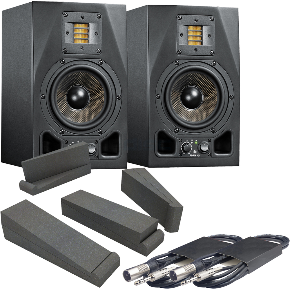Adam Audio A5X Active Studio Monitors + Isolation Pads + Leads Bundle