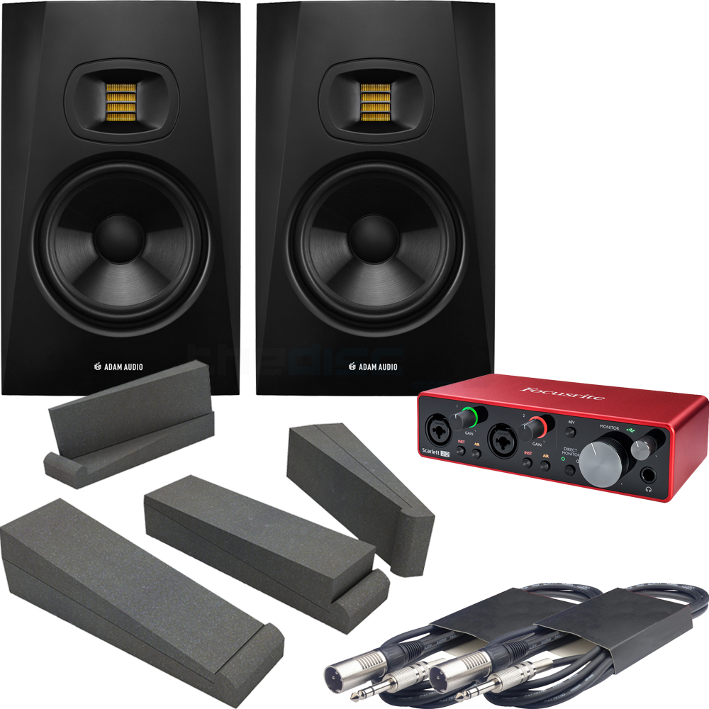 Adam Audio T7V (Pair) + Focusrite Scarlett 2i2 G3, Pads & Leads Bundle