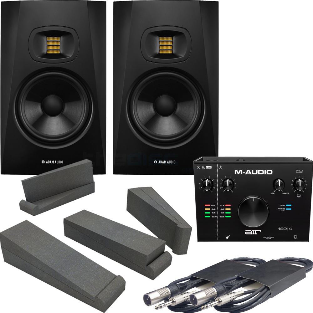 Adam Audio T7V (Pair) + M-Audio AIR 192|4 Interface, Pads & Leads
