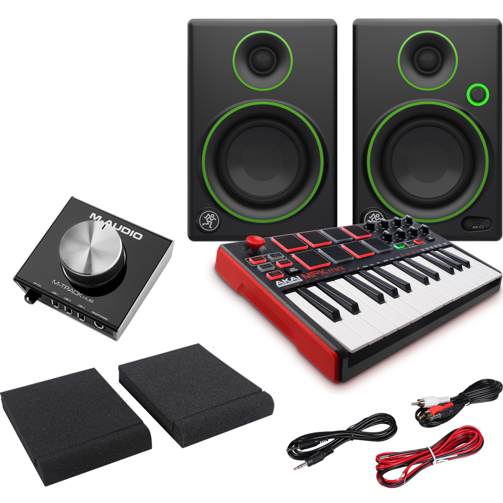 AKAI MPK Mini MKII, M-Audio M-Track Hub, Mackie CR3, Pads & Leads Bundle