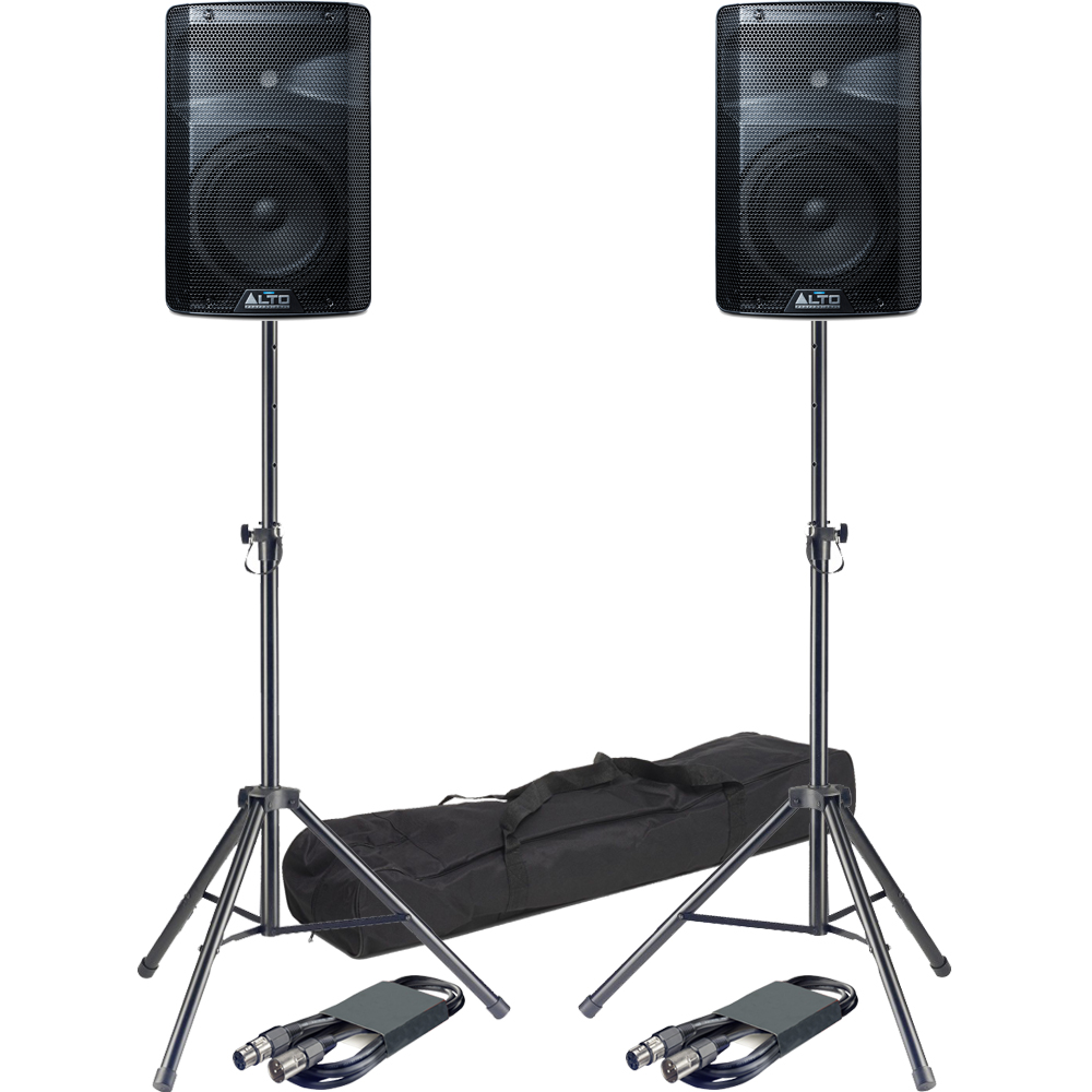 Alto TX208 8'' Active PA Speakers + Tripod Stands & Leads Bundle