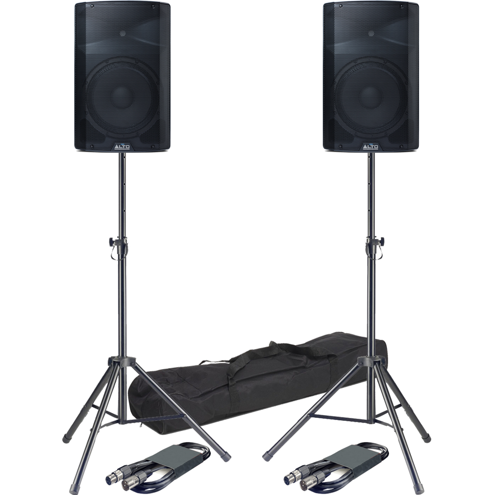 Alto TX212 12'' Active PA Speakers + Tripod Stands & Leads Bundle