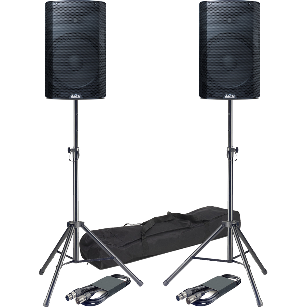 Alto TX215 15'' Active PA Speakers + Tripod Stands & Leads Bundle