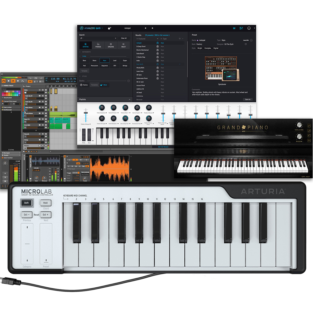 Arturia MicroLab 25-Mini-Key USB Midi Keyboard & Software (Black)
