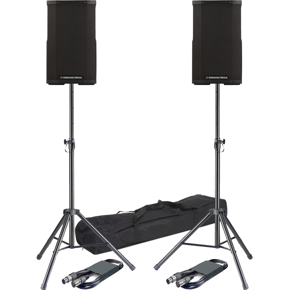 ​Cerwin Vega CVE-10 Active PA Bluetooth Speakers + Stands & Leads Bundle