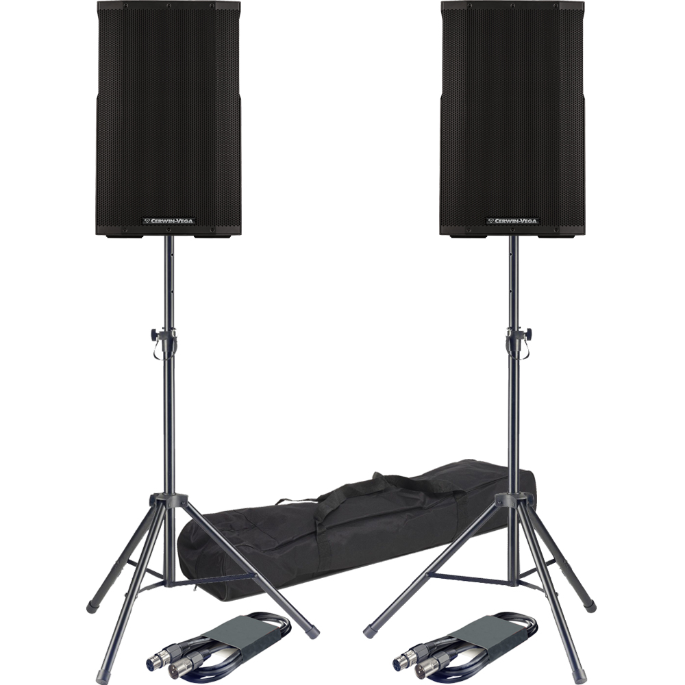 Cerwin Vega CVE-15, Active PA Bluetooth Speakers + Stands & Leads Bundle