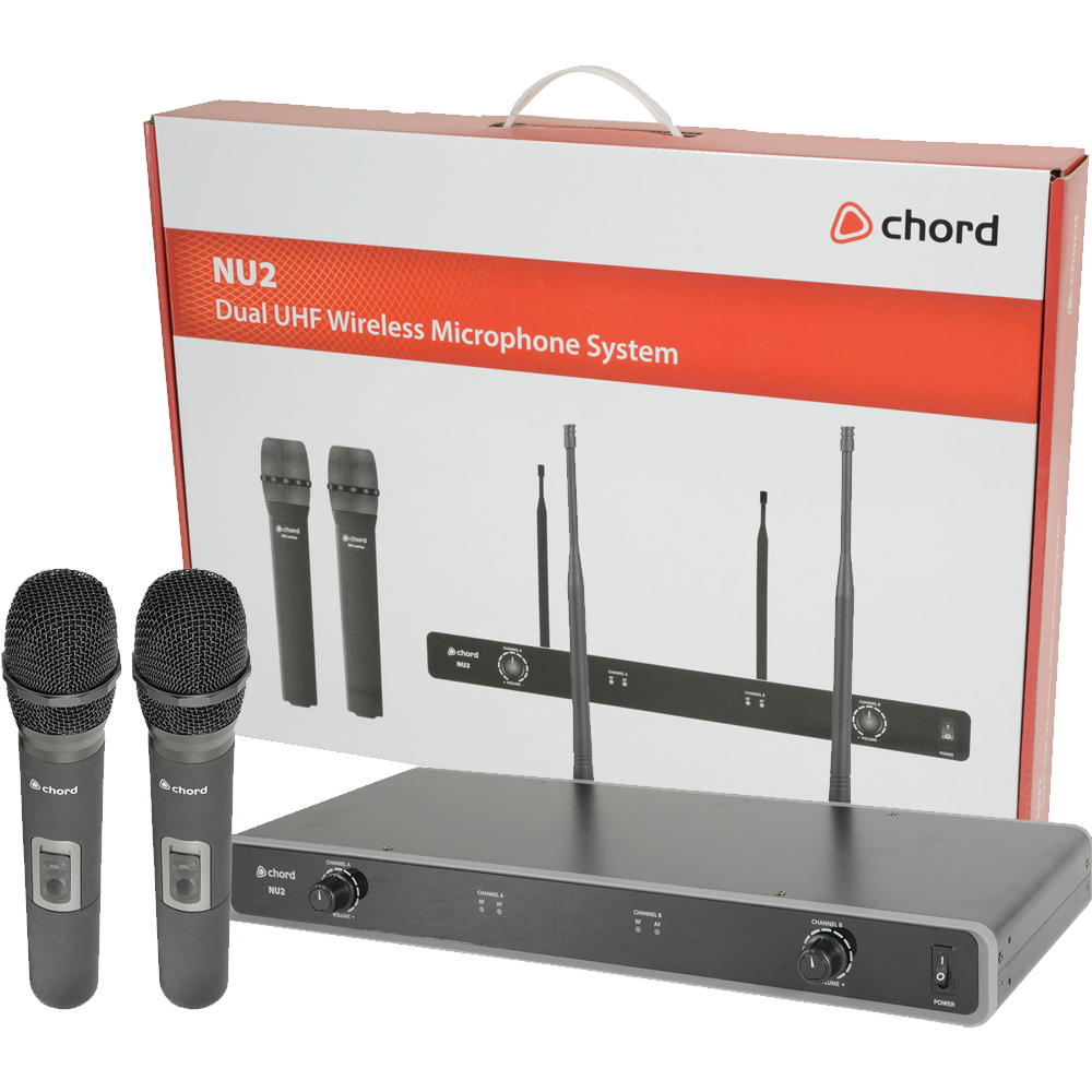 Chord NU2-H Dual UHF Wireless Handheld Microphone Set 863.8-864.8 MHz