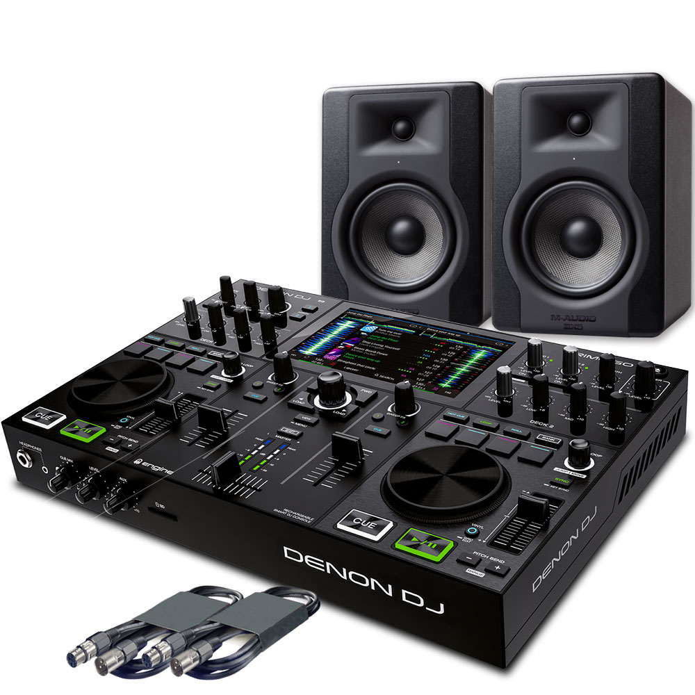 Denon Prime GO + M-Audio BX5 D3 Speakers & Cables Bundle Deal