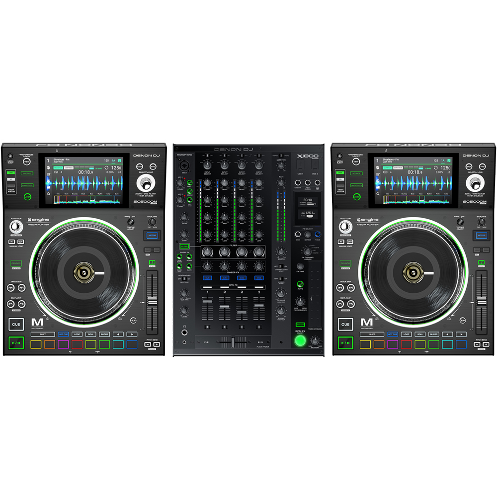 Denon Prime SC5000M Players (Pair) + X1800 Mixer Bundle Deal