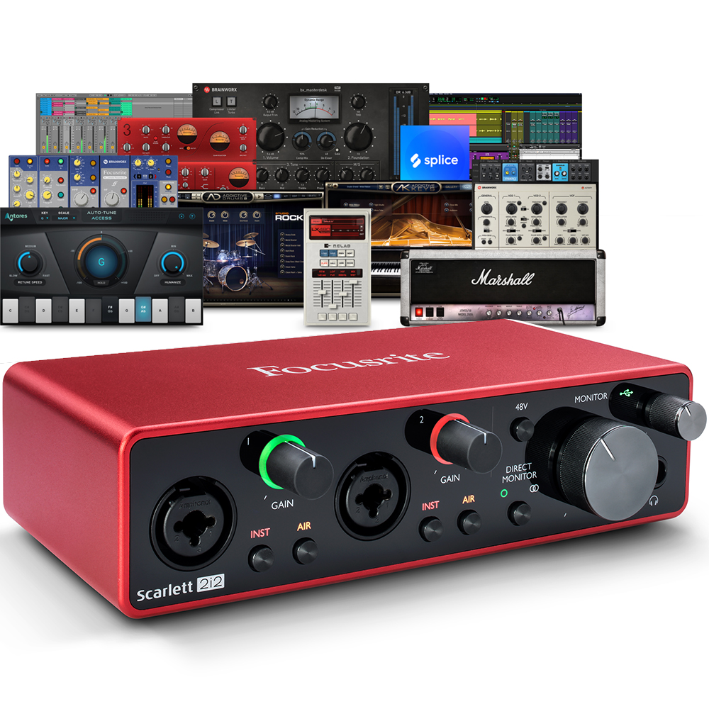 Focusrite Scarlett 2i2 (G3) USB Audio Interface + Free Plugin Bundle