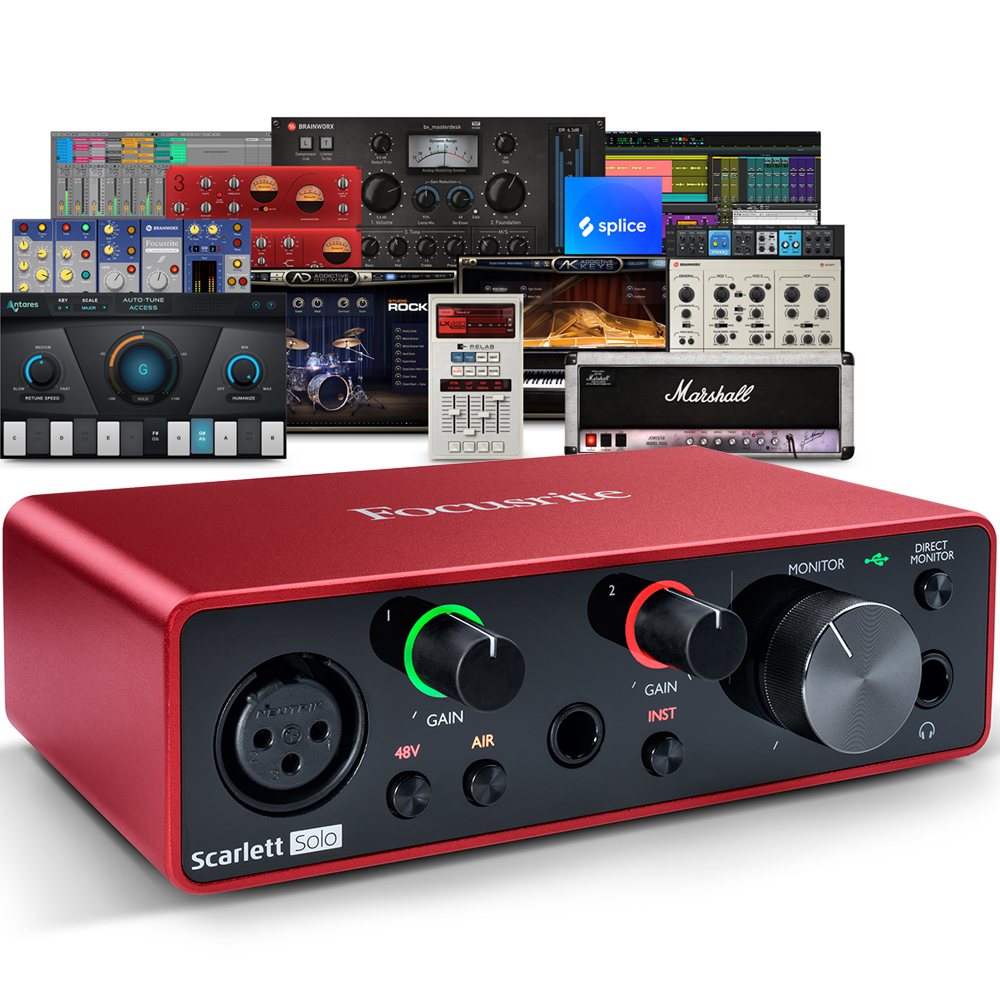 Focusrite Scarlett Solo (G3) USB Audio Interface + Free Plugin Bundle
