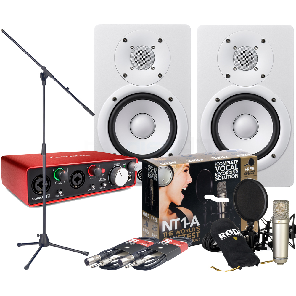 Focusrite Scarlett 2i2 (G2), Rode NT1-A, HS7 White, Mic Stand & Cables