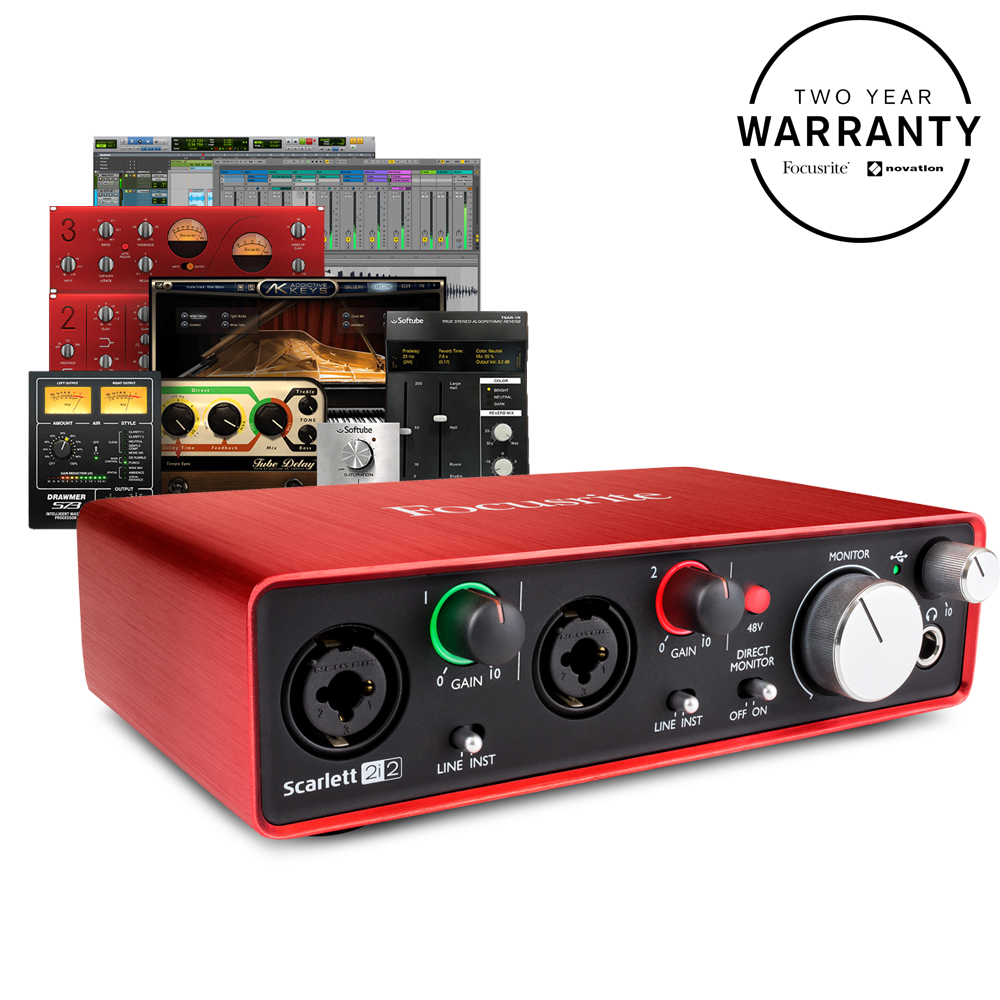 Focusrite Scarlett 2i2 (2nd Gen) Audio Interface, Free Plugin Bundle