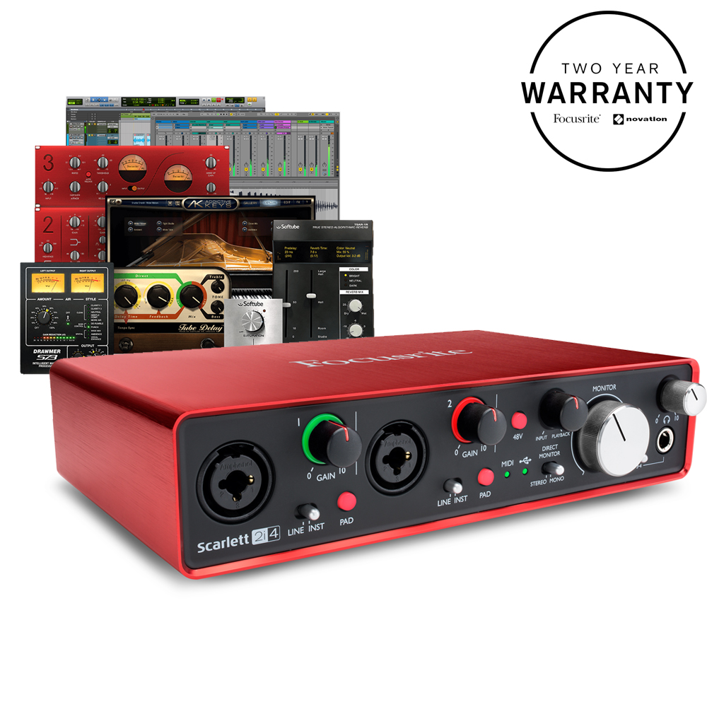 Musical Instruments & Gear Pro Audio Equipment Focusrite Scarlett 2i4 Usb Audio Interface Includes Software Package Attractive Fashion